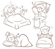 Prosty nakreślenie dzieciaki śpi up i budzi się wcześnie ilustracji