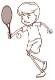 Prosty nakreślenie mężczyzna bawić się tenisa Obraz Royalty Free