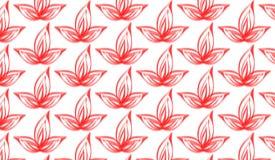 Prosty Nowożytny abstrakcjonistyczny czerwony farby muśnięcia kwiatu wzór zdjęcie stock