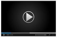 Prosty online odtwarzacz wideo dla sieci w ciemnych kolorach Zdjęcia Royalty Free