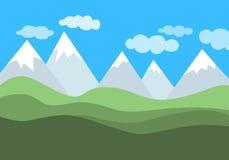 Prosty płaski wektoru krajobraz z górami, zielonymi wzgórzami i błękitnym chmurnym niebem, royalty ilustracja