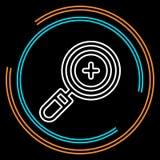 Prosty Powiększać - szklanego zoomu Cienka Kreskowa Wektorowa ikona ilustracji