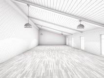 Prosty pusty izbowy wnętrze z lampami 3d Zdjęcie Stock