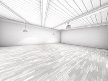 Prosty pusty izbowy wnętrze z lampami 3d Zdjęcia Stock