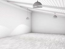 Prosty pusty izbowy wnętrze z lampami 3d Obraz Royalty Free