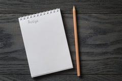 Prosty pusty notepad z słowo przepisem na wieśniaku Obraz Royalty Free