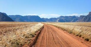 Prosty pustynny droga gruntowa ślad przechodzi obszar trawiastego w kierunku gór Obrazy Royalty Free