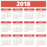 Prosty 2018 rok kalendarz Obrazy Royalty Free