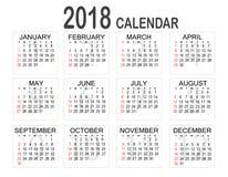 Prosty 2018 rok kalendarz na białym tle Kalendarz dla 2018 Obrazy Stock