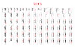 Prosty 2018 rok kalendarz, tydzień zaczyna od Poniedziałku Zdjęcia Stock