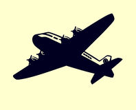 Prosty samolot z śmigło czarny i biały wektorem royalty ilustracja