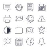 Prosty set biuro Odnosi? sie wektor linii ikony nContains taki ikony jak Biznesowy spotkanie, miejsce pracy, budynek biurowy royalty ilustracja