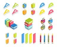 Prosty set 3D Isometric ikony Zdjęcie Royalty Free