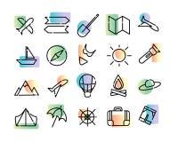 Prosty set ikony podróż Czerń kropkował linie i kolorowego nowożytnego gradient na białym tle Mapa, słońce, samolot, royalty ilustracja