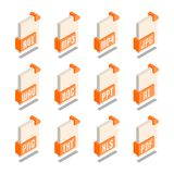 Prosty set kartoteka formata 3D Isometric ikony Obrazy Stock