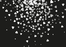 Prosty tło dla walentynki s dnia Czarny i biały styl, spada serca Projekta element, plakat ilustracja wektor