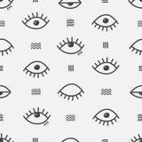 Prosty wektorowy abstrakcjonistyczny bezszwowy wzór z oczami Obraz Royalty Free