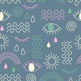 Prosty wektorowy abstrakcjonistyczny bezszwowy wzór z oczami, fala, słońce, krople, tęcza ilustracja wektor