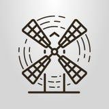 Prosty wektorowy kreskowej sztuki logo wiatraczek ilustracji