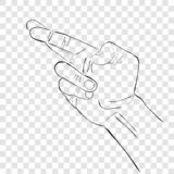 Prosty Wektorowy nakreślenie, Prawa Ręka kłamstwo gest przy przejrzystym skutka tłem ilustracji