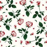 Prosty wzór róże i serca Royalty Ilustracja