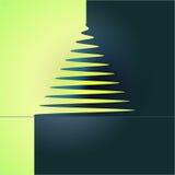 Prosty xmas drzewny żółty błękitny wektor Obraz Stock