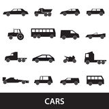Prostych samochodów sylwetek czarne ikony inkasowe Zdjęcia Stock