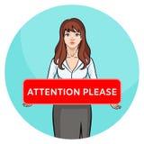 proszę o uwagę Kreskówki brunetki dziewczyna w biura mienia odzieżowej desce royalty ilustracja