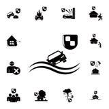 protégez contre noyer une icône de voiture Ensemble détaillé d'icônes d'assurance Signe de la meilleure qualité de conception gra Image stock