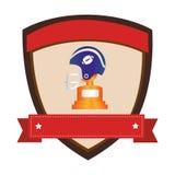 Protégez l'emblème avec le casque de football américain de vue de côté et la tasse de trophée avec le plat Images stock