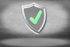 Protégez le symbole montré sur une interface futuriste - le rendu 3d Image libre de droits