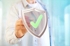 Protégez le symbole montré sur une interface futuriste - le rendu 3d Images stock