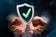 Protégez le symbole montré sur une interface futuriste - le rendu 3d Photos libres de droits