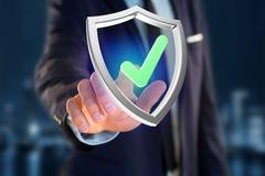 Protégez le symbole montré sur une interface futuriste - le rendu 3d Images libres de droits