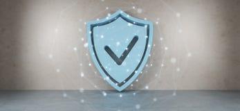 Protégez les icônes dans l'intérieur avec le rendu des connexions 3D Photographie stock libre de droits