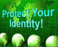 Protégez votre identité indique la personnalité et le mot de passe restreints Photo stock
