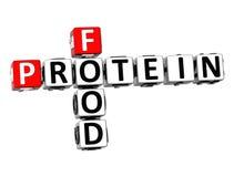 protéine de nourriture des mots croisé 3D sur le fond blanc Images libres de droits