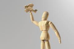 Protótipo de madeira do manequim do ser humano ilustração stock