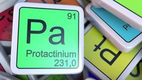 Protactinium Pa blok na stosie okresowy stół chemicznych elementów bloki świadczenia 3 d Zdjęcia Stock