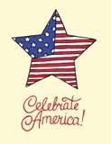 Protagonice con la bandera americana, celebre América, diseño de tarjeta libre illustration