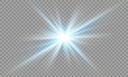 Protagonice en un fondo transparente, efecto luminoso, ejemplo explosión con las chispas Imagen de archivo
