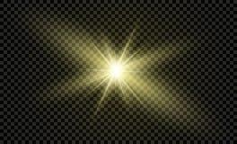 Protagonice en un fondo transparente, efecto luminoso, ejemplo explosión con las chispas Imágenes de archivo libres de regalías