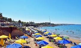 Protagonice la playa de Hersonissos en la isla de Creta en Grecia Fotos de archivo