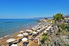 Protagonice la playa de Hersonissos en la isla de Creta en Grecia Imagen de archivo