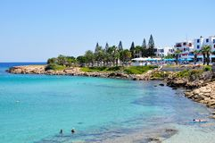 Protaras, Cyprus. Protaras city beach landscape, Cyprus Royalty Free Stock Photos