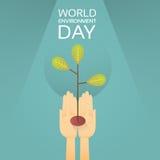 Proteção crescente da terra do dia de ambiente de mundo da árvore da posse das mãos ilustração royalty free
