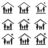 Proteção da família na casa, grupo dos ícones 1 Fotografia de Stock Royalty Free