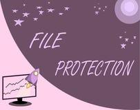 Proteção de arquivo do texto da escrita Significado do conceito que impede o apagamento acidental dos dados usando o suporte de m ilustração stock