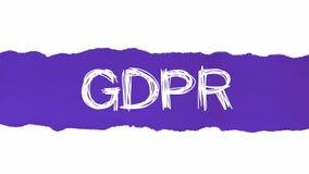 Proteção de dados geral GDPR regulamentar que aparece atrás do papel azul rasgado ilustração do vetor