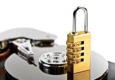 Proteção de dados no disco rígido com fechamento Fotografia de Stock Royalty Free